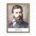 Голям портрет с лика на Христо Ботев в рамка със стъкло