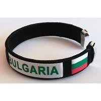 Черна плетена сувенирна гривна с надпис България и знаме