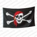 Пиратско знаме с череп с червена кърпа - бандана