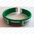 Зелена плетена сувенирна гривна с надпис България и знаме