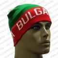 Трикольорна плетена шапка с напис Bulgaria